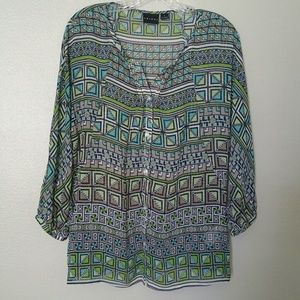 Tribal button up blouse w/ winged 3/4 sleeves sz 6